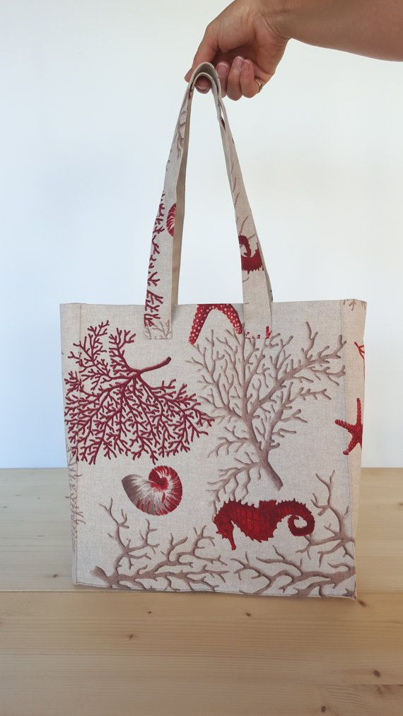 Beach bag ecru cotton fabric with designs in by FlaviacAccessories