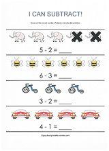 beginning subtraction worksheet from www.preschool-printable-activities.com