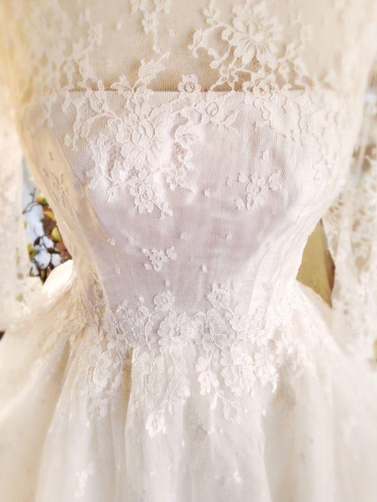 Lace and silk tea length 3 4 sleeve wedding dress luscious lace