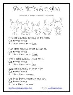 Five Little Bunnies Subtraction Shared Reading and Finger Puppets {Freebie}by Lil' Country Kindergarten