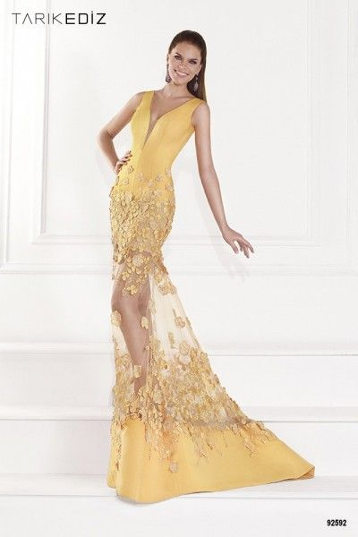 2015 Sarı Elbise Modelleri