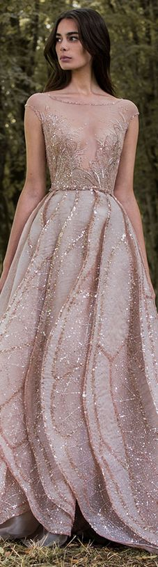 Paolo Sebastian 2016/17 Autumn Winter - Gilded Wings. #nude #elegant #dress