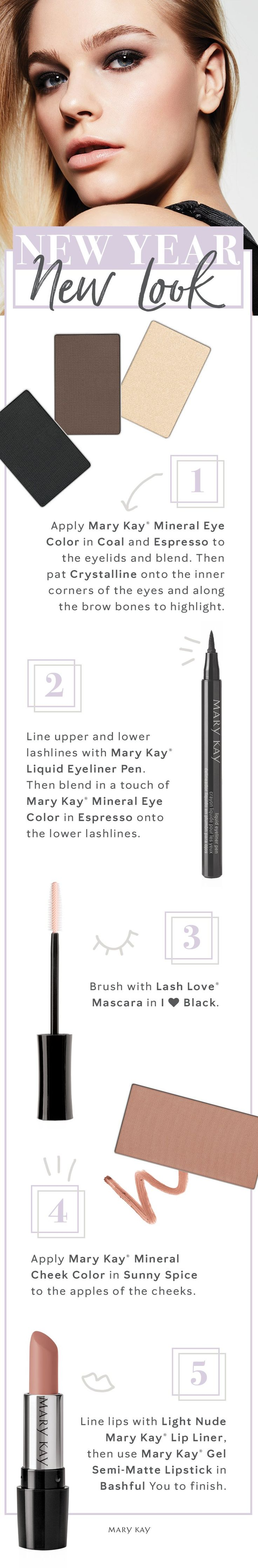 New year, fresh start. Balance bold eyes with a nude lip for a smoldering winter makeup look that turns up the heat. | Mary Kay