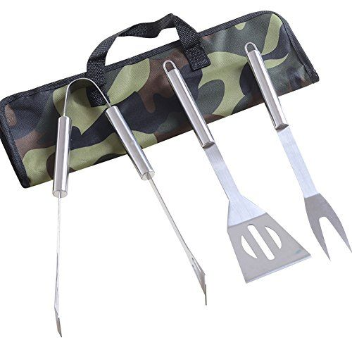 CHICHIC Grilling Accessories, BBQ Utensils, Barbecue Tool Sets, BBQ Accessories, Stainless Steel Grilling Tong & Turner & Fork Set, Set of 3 with Durable Storage Bag for Barbecue Grill Utensils - http://grills.nationalsales.com/chichic-grilling-accessories-bbq-utensils-barbecue-tool-sets-bbq-accessories-stainless-steel-grilling-tong-turner-fork-set-set-of-3-with-durable-storage-bag-for-barbecue-grill-utensils/
