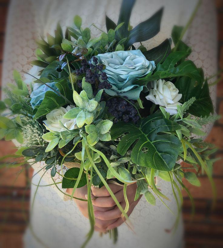 Blue rustic flower bouquet