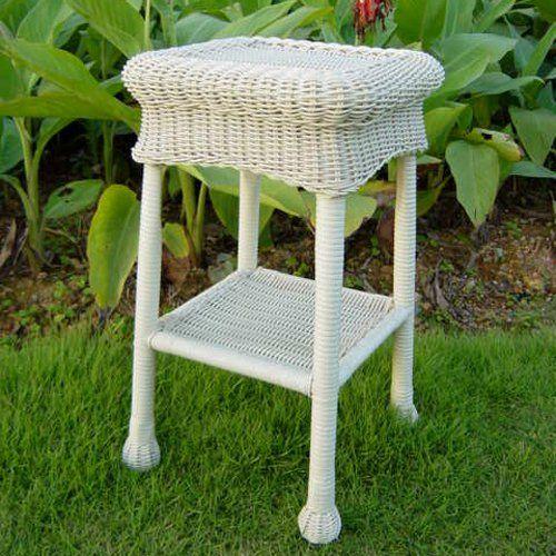 international caravan madison wicker resin 2 tier patio side table