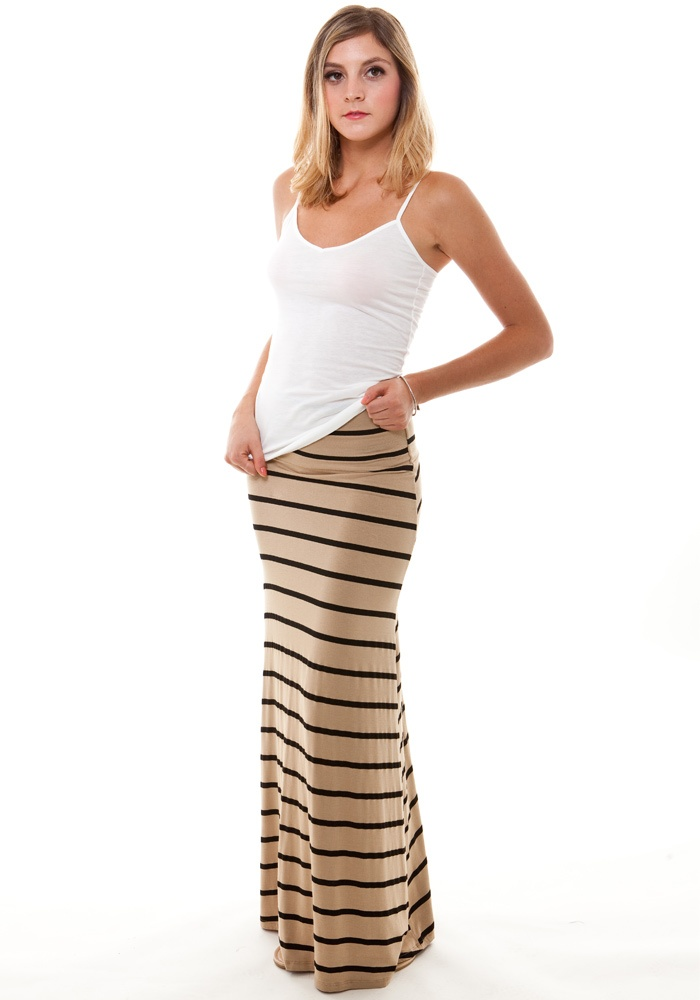 Knit Maxi Skirt: Black & Tan: Striped Maxi Skirts, Stripes Maxi Skirts, Maxi Skirt Black, Maxi Skirts Black, Beautiful Skirts, Long Skirts, Black Tanks, Knits Maxi, Maxi Dresses Skirts