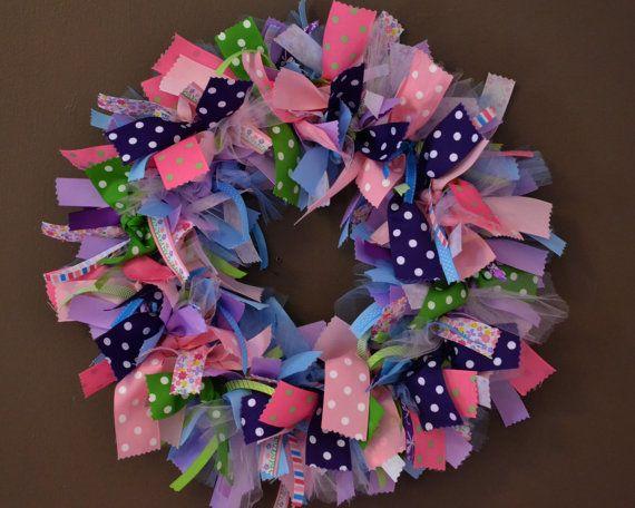 "18"" Ribbon Wreath / Summer Wreath / Baby Shower Wreath / Girls Bedroom Wreath on Etsy, $42.00"