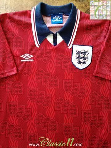 Official Umbro England away football shirt from the 1993/1994 season.