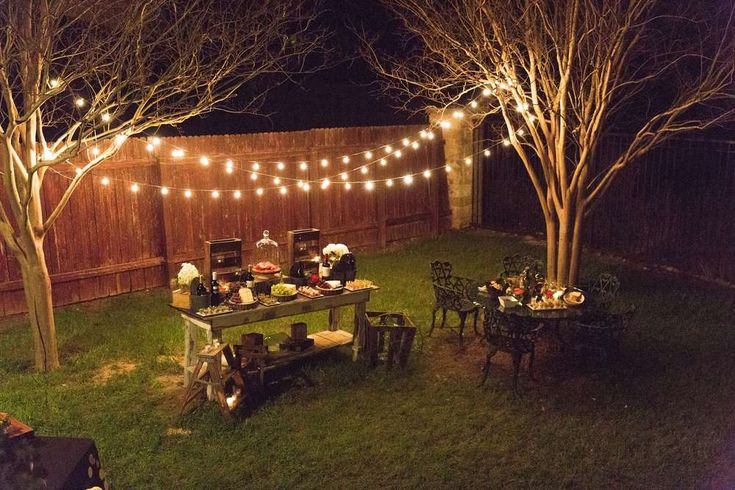 Magical lighting at a rustic outdoor party! See more party ideas at CatchMyParty.com!