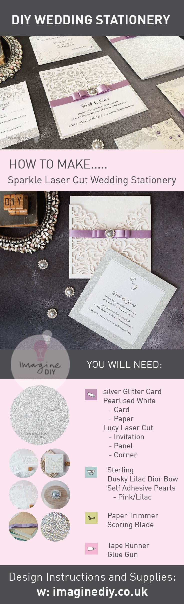 How to make your own wedding stationery.  DIY wedding stationery in silver.  Sparkling wedding stationery and invitations.  Silver, Lilac, White.  DIY wedding ideas.  Design guide, instructions and products available from Imagine DIY  #imaginediy #diywedding #diyweddingideas #weddingideas #lilacwedding #silverwedding #glitterwedding #diyweddingstationery #diyweddinginvites #diyweddinginvitations #weddinginvitations #weddingstationery