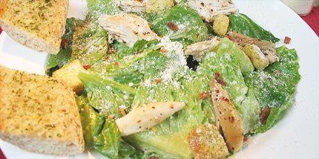 Cajun Chicken Caesar Salad with Garlic Baguette Recipes   Food Network Canada