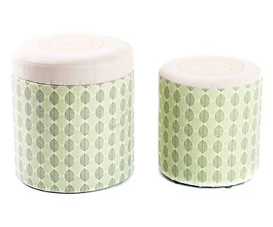 Set di 2 pouf contenitori in poliestere Home verde e bianco, d 35/h 36 cm
