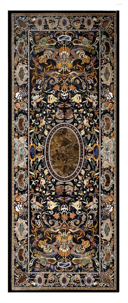 Pietra dura center table, XXth Century. The rectangular top inlaid in various colored hardstones with scrolls, birds and exotic figures, raised on carved black marble supports - Dim: H: 36, L: 120, D: 52 in.