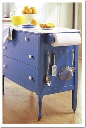 kitchen cart made from a dresser!