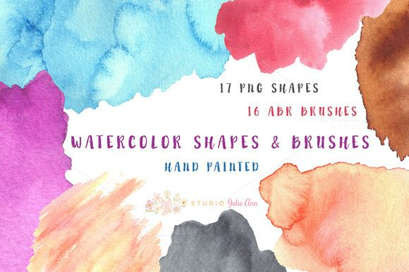 Watercolor Shapes & abr Brushes by Studio Julie Ann on Creative Market