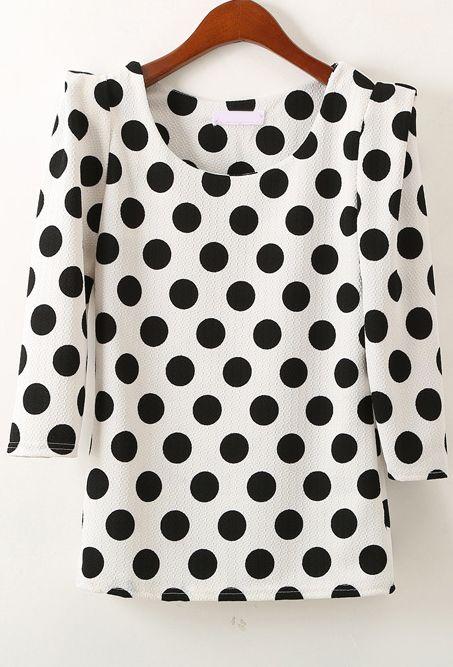 El sitio con la ropa perfecta...Sheinside! Blusa topos manga media-blanco