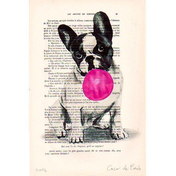 Dibujos - Bulldog with bubblegum- Mixed media illustration - hecho a mano por…