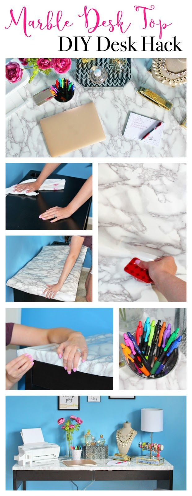 DIY Marble Desk Top tutorial. How to overhaul your desk in less than an hour for…