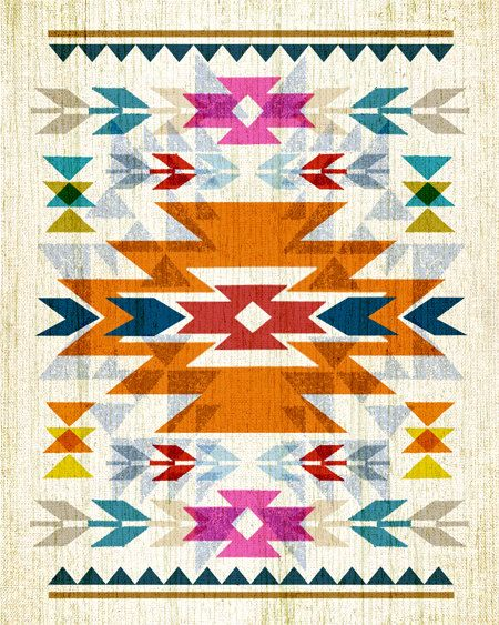 8x10 art print - Native American / Navajo Inspired - Bright, Colorful & Graphic Art Pattern Poster Print.