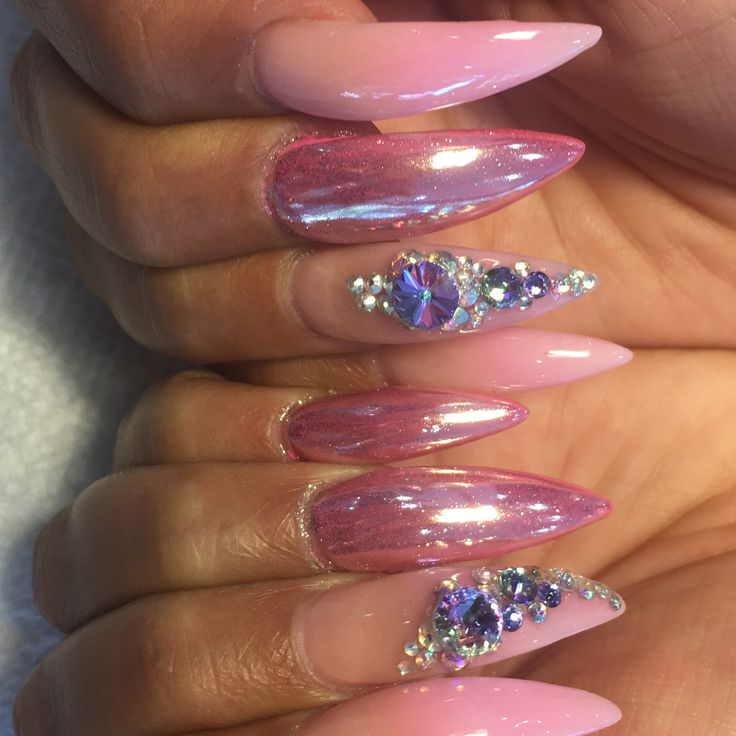 Chrome stiletto nails
