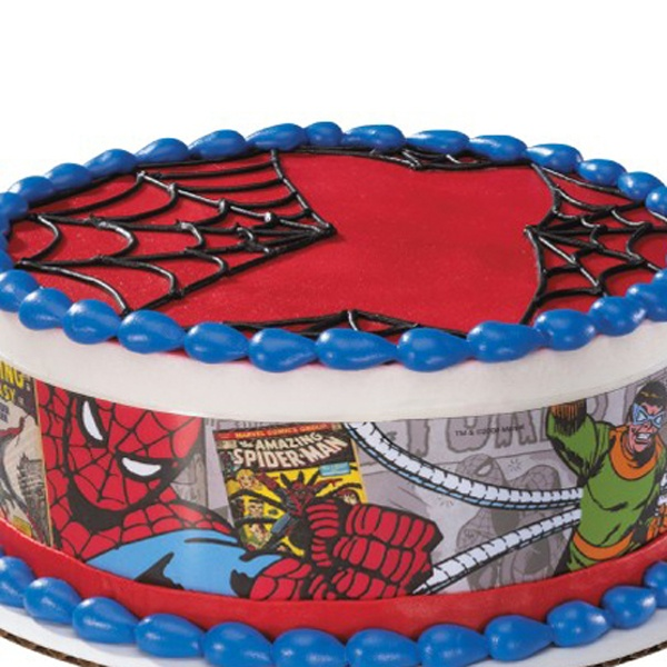 spider man comic round edible image cake decoration party fun pinterest cake edible cake. Black Bedroom Furniture Sets. Home Design Ideas