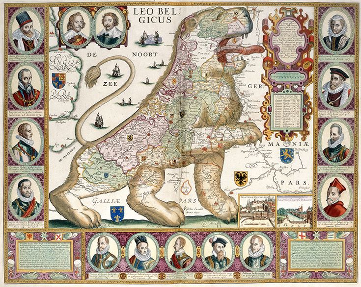 This image is taken from Leo Belgicus and shows a map in the shape of a lion. This was produced in Amsterdam between 1600 and 1750.