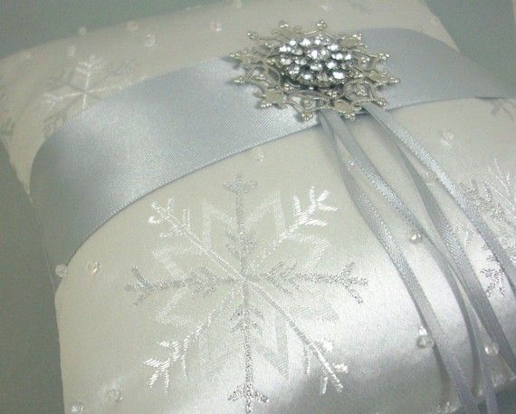Silver Snowflake Ring Bearer Pillow