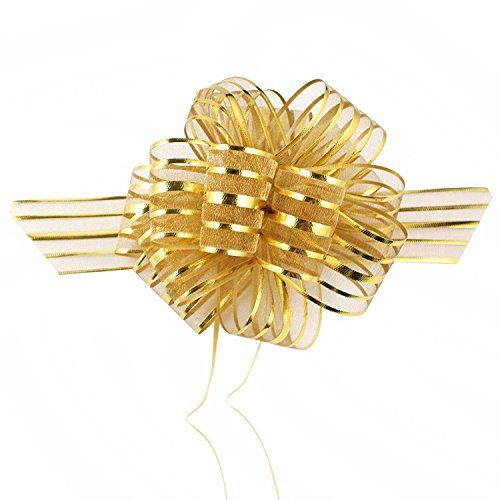 "EOM Set of 8 Wedding Pull Bow Organza Striped Ribbon String with 35"" Long Tulle Tails Wedding Party Bridal Giftwrap Wrapping Bows ,Gift Bows, Christmas Bows Assorted Colors (Set of 10 Gold Color) - http://rfernandez.otldemo.com/wp_timeless/eom-set-of-8-wedding-pull-bow-organza-striped-ribbon-string-with-35-long-tulle-tails-wedding-party-bridal-giftwrap-wrapping-bows-gift-bows-christmas-bows-assorted-colors-set-of-10-gold-color/"