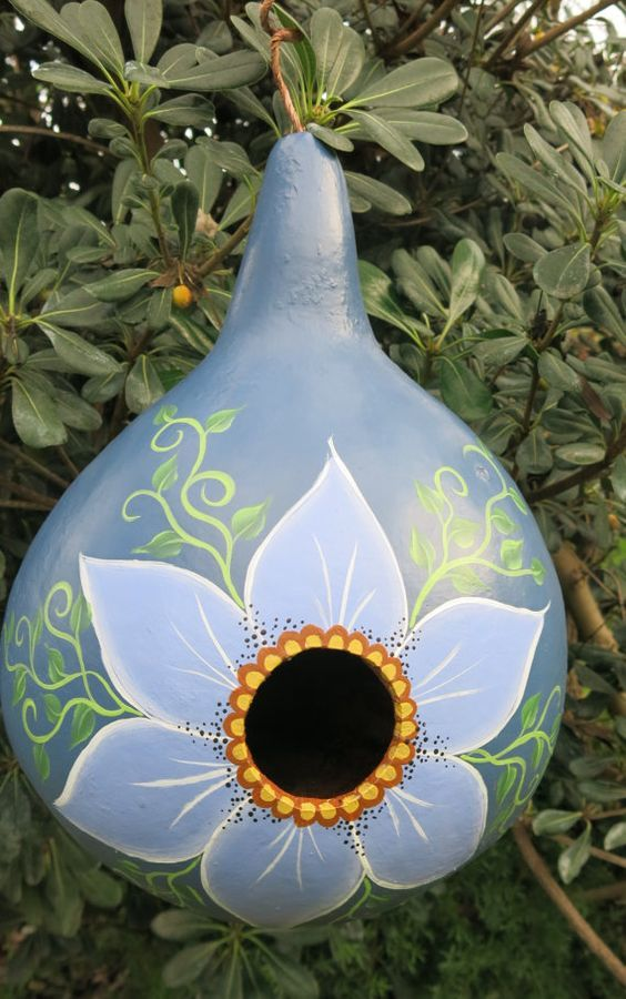 Hey, I found this really awesome Etsy listing at https://www.etsy.com/listing/215340768/painted-gourd-birdhouse-with-flower