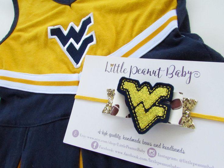 WVU Football Headband - wvu mountaineers football bow by LittlePeanutBaby on Etsy
