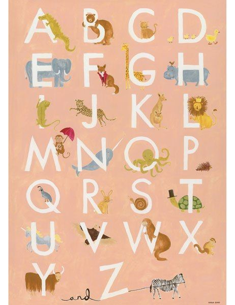 Limited-edition alphabet poster with animals by Rifle Paper Co., $50; riflepaperco.com