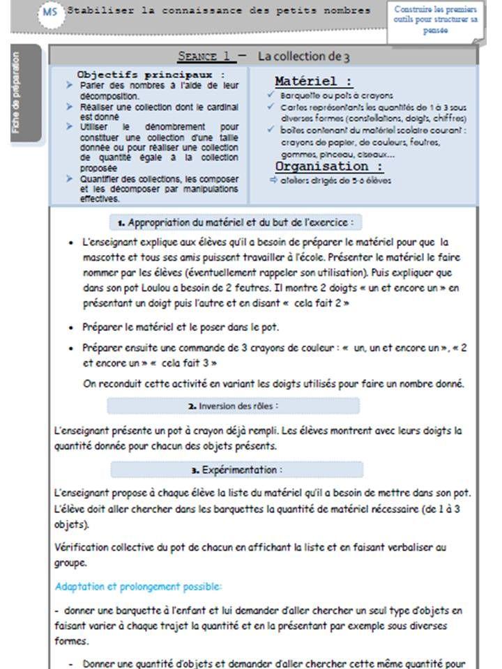 prep MS P1 nouveau programme Vers les maths lamaterdeflo