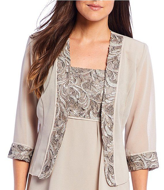 Chiffon Overlay Dress Special Occasion Beaded Jacket Embrodery