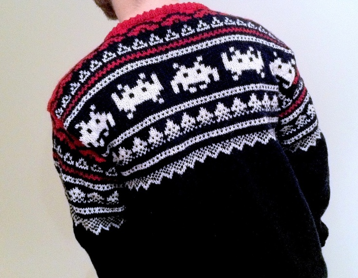 Norwegian traditional knitted sweather, but with space invaders in the pattern. Arne and Carlos.