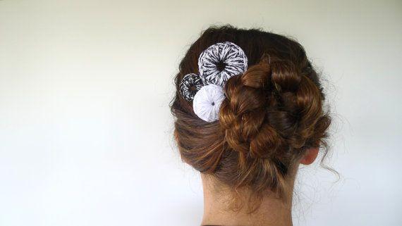 Bridal hair pins. Bun hair pieces. Black & white hair by KEENbyAM