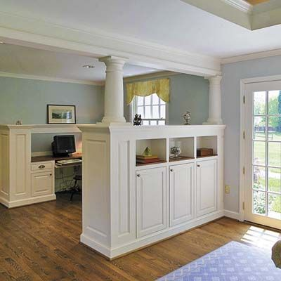 columned room divider - remind me of those found in old farm homes...