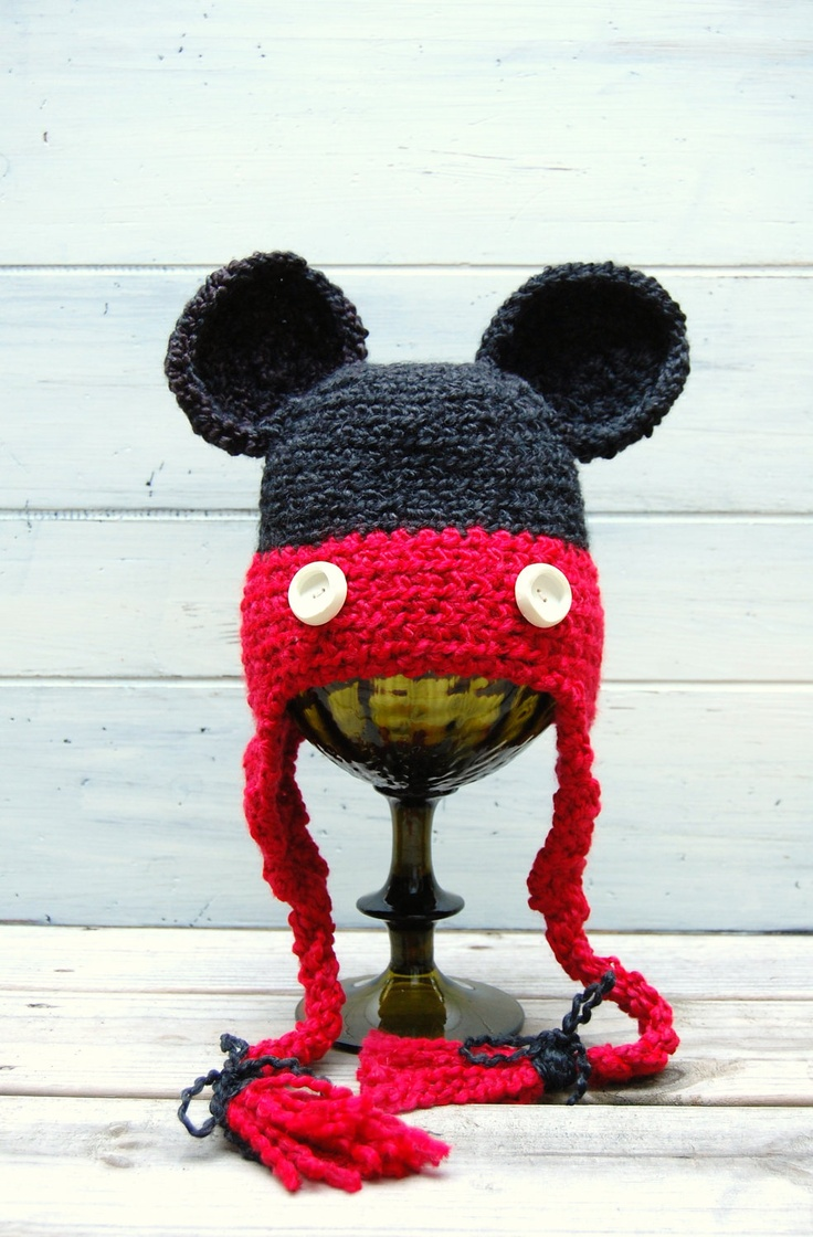 """Crochet hat inspired by """"Mickey Mouse"""" for boy or girl. $25.00, via Etsy."""