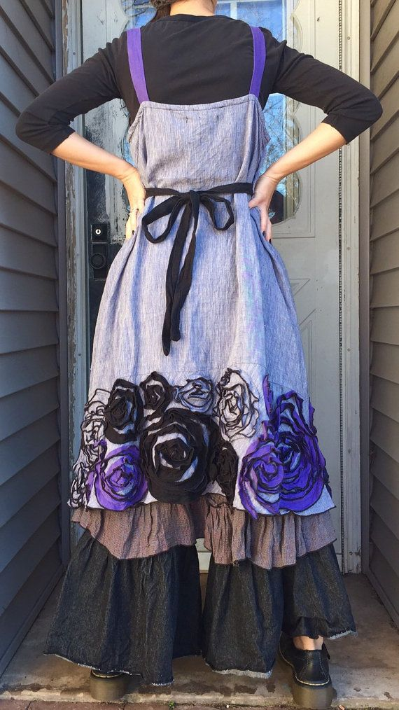 Purple Linen Rose Dress M by sarahclemensclothing on Etsy
