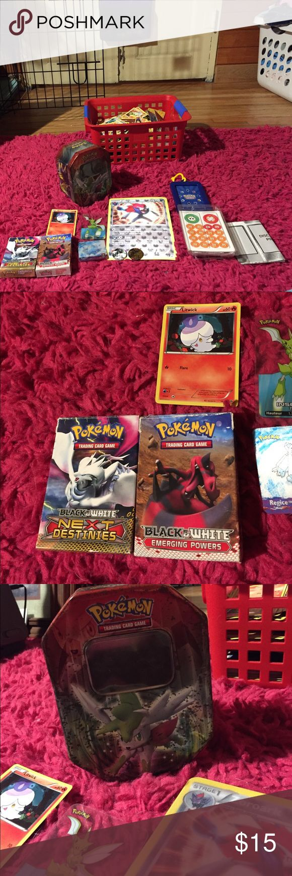 Pokémon Card Lot- Items Two Card Boxes, 3 Pokémon cards, 1 giant Pokémon card, 2 Coins, Play Tokens, 2 Play Papers Pokemon Other