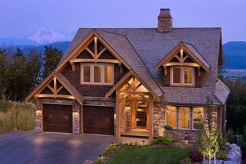 Mountain View Timber Frame Home - Exterior by Riverbend Timber Framing, via Flickr