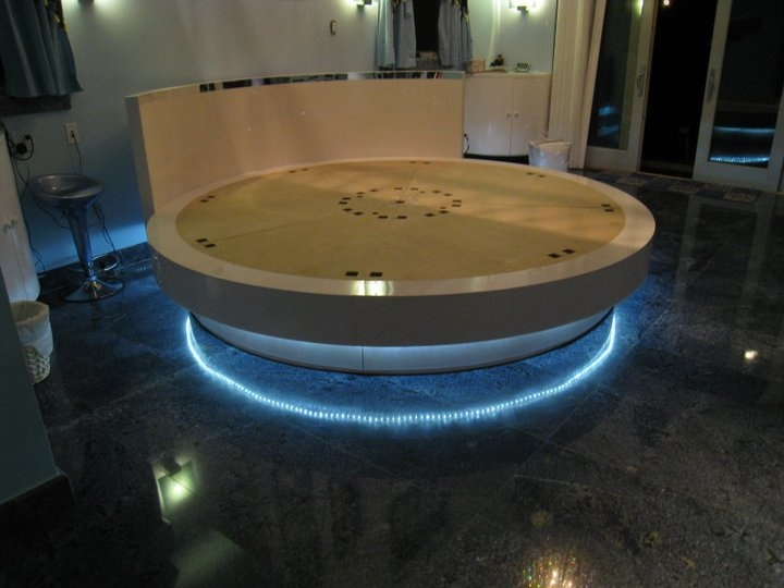 cranium furniture inc custom rotating round bed featuring blue platform lights with a - Circle Beds Furniture