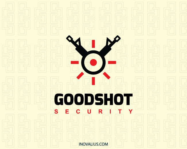 Abstract logo composed of two machine guns in conjunction with a crosshair with black and red colors. ( shot, abstract, machine gun, target, fire, security, safe, safety, game, online store, arm,  logo for sale, logo design, logo, lototipo, logotype).