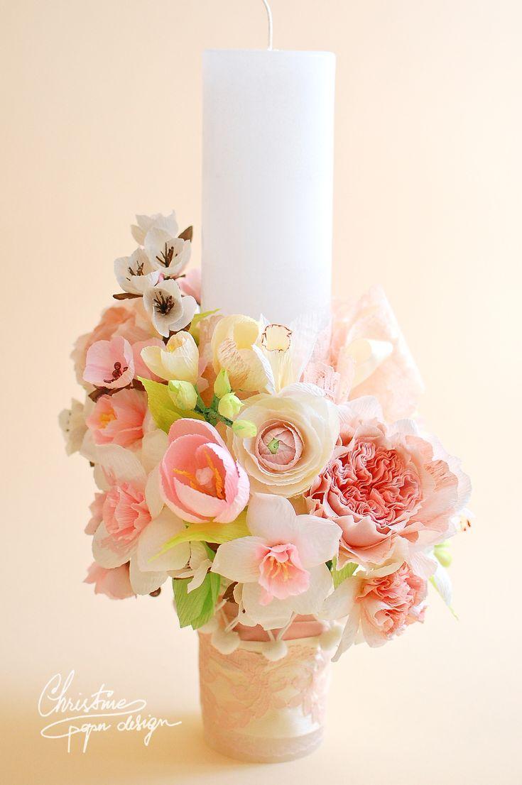 Spring paper flowers babtism candle | Christine Paper Design