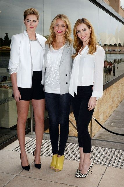 With her The Other Woman co-stars - Cameron Diaz and Leslie Mann - at a press conference for the film in Sydney.