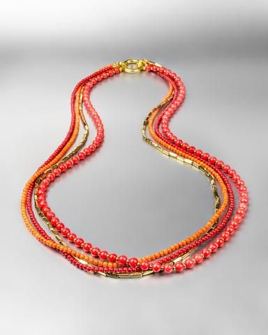 Sakina Coral & Brass Multi-Strand Necklace