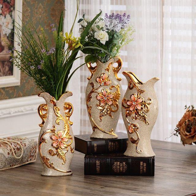 Florero de cerámica de la manera europea de oro jarrones para la decoración del hogar moderno florero de mesa adornos artesanía del regalo de boda creativo