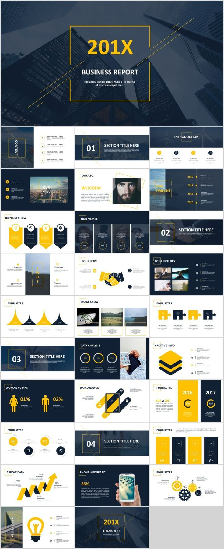 30 creative charts swot report powerpoint template presentation
