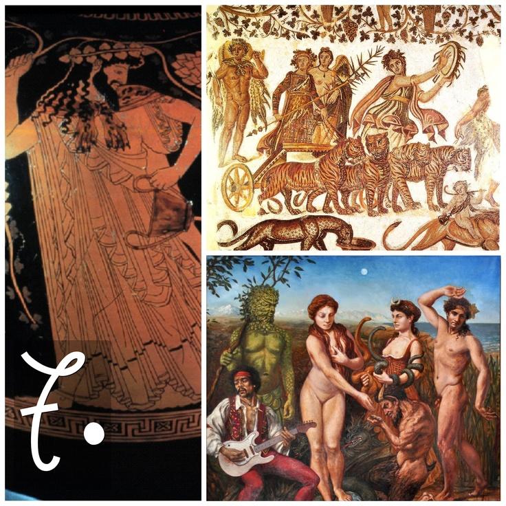 Se ci sembra strano che Dioniso e Apollo siano 'amici', è perché Dioniso ha questa reputazione di folle, sempre ubriaco, eccessivo (un carro tirato da QUATTRO tigri nel mosaico di Sousse), pronto a fare festa con gente improbabile (Jimi Hendrix nel dipinto dell'artista Elsie Russell)...e le sue Baccanti, dopotutto, passano le serata a smembrare cerbiatti. A livello superficiale, quindi, Dioniso sembra non avere niente in comune con Apollo.
