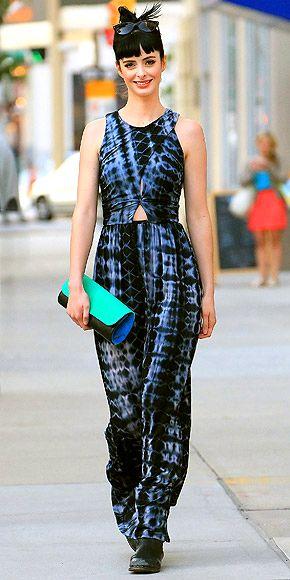 Krysten Ritter in tie dye funky outfit. #fashion